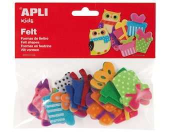 """18 assorted shapes """"Gifts"""" - APLI Kids - Ref 13784 felt - until the stock!"""