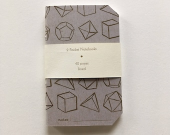2 Pocket Platonic Solids Notebooks • Mini Geometic Letterpress Notebooks • Lined or Unlined • Gifts for Math Nerds