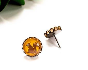 Squirrel Earrings, Squirrel Stud Earrings, Squirrel Jewelry, Glass Stud Earrings, Brown Squirrel Jewelry