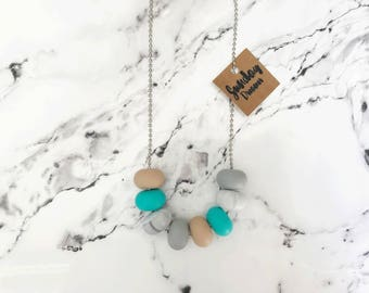 """SALE! Abacus beaded turquoise + marble necklace. """"WAS 22 NOW 15"""""""
