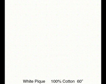 "Pique / White Pique / 100% Cotton / 60 Inches Wide / Pleats for Smocking / 60"" wide / by Fabric Finders"