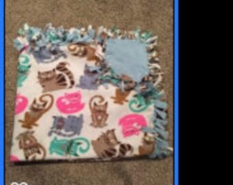 "Hand Made No Sew Fleece Cats Blanket 55"" x 60"""