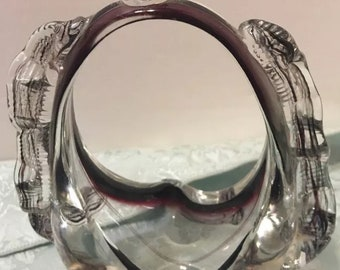 Art Deco Glass Purse Vase Art Glass Vintage Snakes Purple To Clear Murano