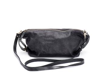 Unique Black Clutch, Crossbody Clutch, Genuine Leather Bags, High Quality Bags, High Fashion, Zippered Bag, Unique Crossbody - Martin Bag
