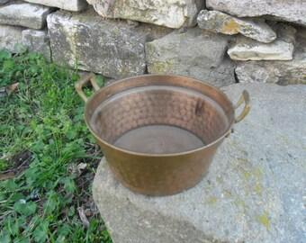 Antique,  copper forged bowl,pot cooking, serving 1950