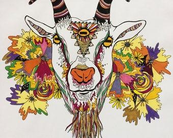 Third Eye Goat w/ Flowers Original Art Print