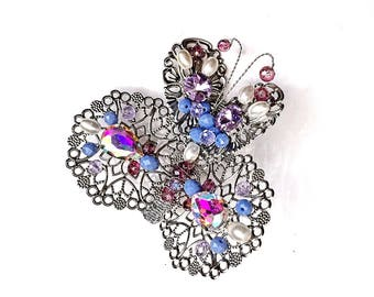 Silver Purple Blue metal Filigree Pretty Butterfly Hair Clip Jewelry Wedding Bridesmaid gift for mom girlfriends baby Barrette spring Summer