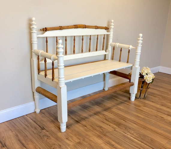 White Antique Entryway or Porch Bench with Rustic Distressed Finish - Painted Farmhouse Style Furniture - Primitive Wooden Spindle Bench