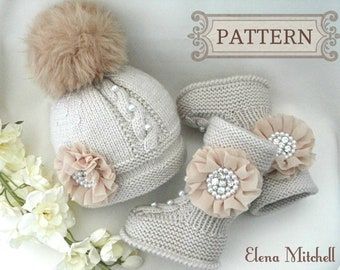 Knitting PATTERN Baby Set Newborn Baby Hat Baby Shoes Baby Ugg Knitted Baby Hat Infant Baby Booties Baby Boy Baby Girl Pattern ( PDF file )