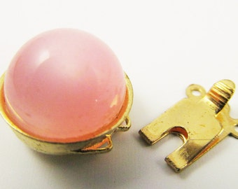 2 14mm Vintage Pink Moonglow Lucite Box Clasps Cl10