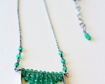 Cascade Green Onyx Necklace | Sterling Silver Green Oxyx Necklace | Oxidized Silver Necklace