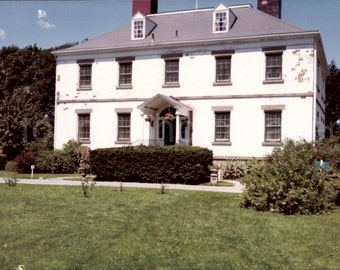 Vintage Photo, Colonial White House with Chimneys, Green Lawn, Blue Sky, Color Photo, Snapshot, Found Photo, Vernacular Photo, Old Photo