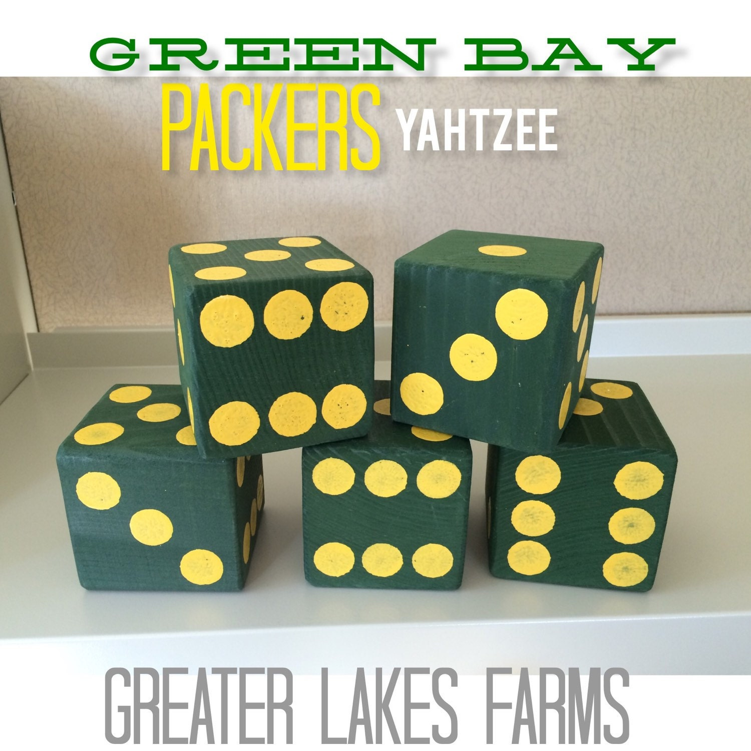 Green Bay Packers Giant Yard Yahtzee Sanded and Painted