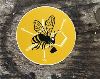 Buzzy Coffee Drinking Bees Sticker