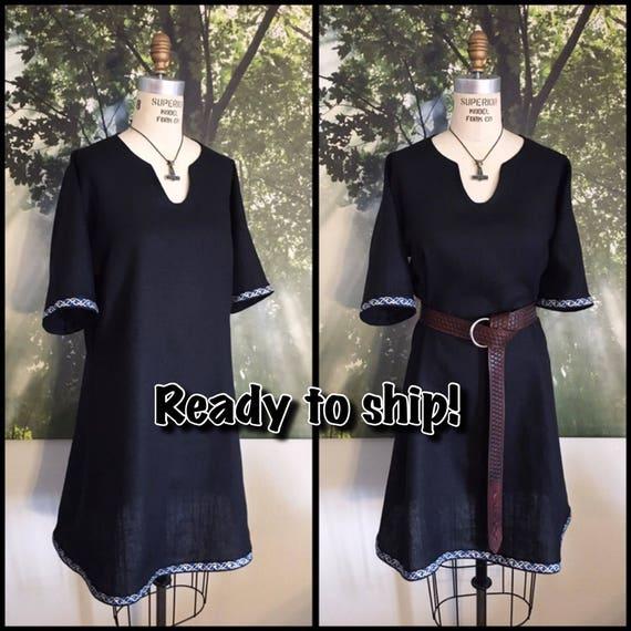 Ready to Ship!** Black linen Viking Tunic with Blue Black Metallic Celtic Knotwork Trim, Garb, Norse, SCA, LARP, Reenactment, Slavic