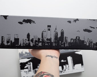 Philadelphia Skyline Canvas (12 x 4 inches, Gray with Black) City Skyline Screen Print & Painting Home Decor