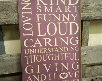 "Personalized Carved Wooden Sign - ""My Best Friend is Beautiful, Loving, Kind, Smart ..."""