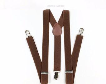 Men's Suspenders - DARK brown suspenders - for children 6+, teens and adults. suspenders for weddings,celebrations, costumes, daily wear