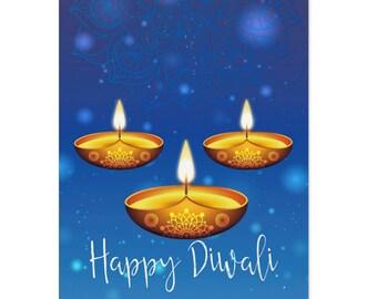 Diwali, Diwali Festival Of Lights Greeting Card, Blue Design Diwali Cards - (Pack of 10)