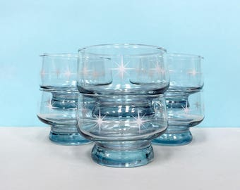 Crown Corning 'Starlight' parfait/dessert glasses, set of six