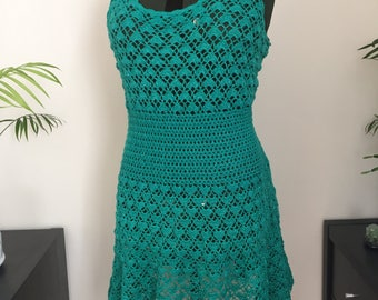 Dress - Fern Green with silver thread, UK size 14/16