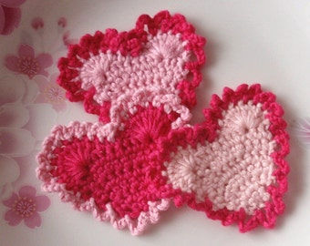 3 Crochet  Hearts  YH -118-02
