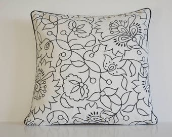 Black Embroidery on 100% Cotton Canvas Pillow Cover , Black Embroidered Cushion Cover , Black Floral Embroidered Cotton Cushion Cover