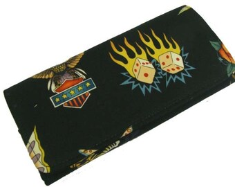 Wallet With  Skin  Deep Skeleton  Exterior  US Handmade Black Alexendar Henry  cotton Fabric, new