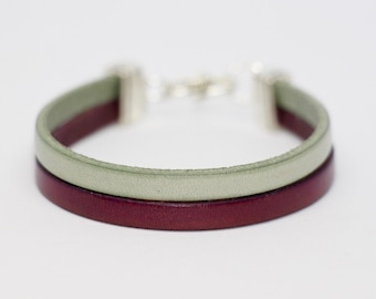 Two-tone Pale green & Burgundy wine leather bracelet