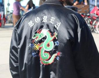 SALE! Vintage silk Korea Tour Jacket Embroidered Korea / dragon / U.S. Coast Guard Design Front & Back Bomber