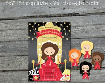 Red Carpet Hollywood Printable Birthday Invitation | Digital Download | Slumber Party Invite | Digital Download | 5x7 Glamour Party