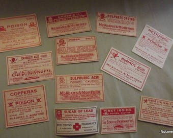 One Dozen Unused Drugstore Poison Labels