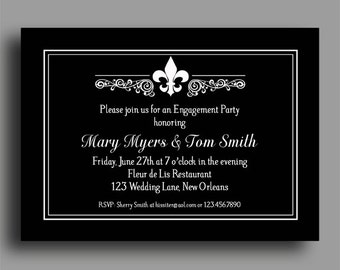 Fleur De Lis Invitation Printable or Printed with FREE SHIPPING - Engagement Party,Couples Shower, Rehearsal, Wedding, Anniversary, Birthday