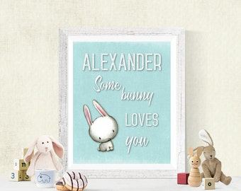 Personalized SomeBunny Loves You Nursery Digital Print, Baby Decor, Download, Boy's Room or Girl's Room Wall Art, Woodland Bunny, 8x10 #3