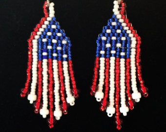 Beaded Flag Earrings with Silver Lined Beads