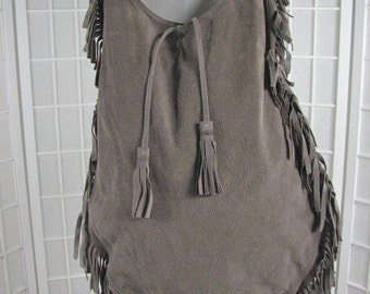 1990s Taupe Suede Sack Purse with FRINGE.....   MADE in FRANCE