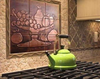 Fruit Bowl Tiles, Fruit Tiles, Set Of 9. Copper Design, Accent Tiles