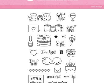 "Clear Stamps - ""Date Night"" [Date Night Stamps, Planner Stamps, Stamp Set, Bullet Journal, Planning Stamp, Valentine's Stamp] - T005"
