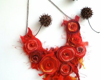 Fiber art red bib necklace, bohemian style one of a kind featured in Belle Armoire Jewelry Magazine, romantic, Morning beauty XVI
