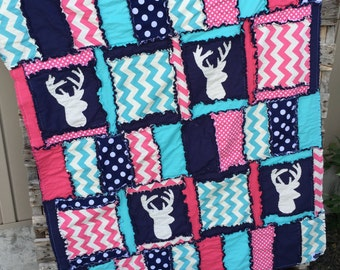 Woodland Baby Quilt - Pink / Turquoise / Navy Bedding- Tribal Nursery Deer Bedding- Hunting Crib Bedding - Mountain Nursery Baby Girl Quilt