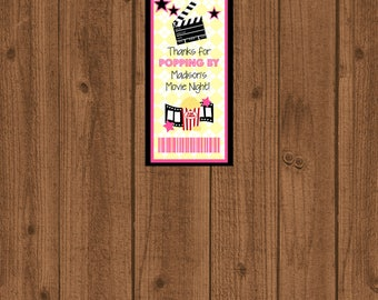 Movie Favor Tag, Popping By Favor Tag, Movie Night Favor Tag, Movie Birthday Party, Movie Ticket Tag