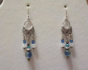Czech and Glass Beads Chandelier Earrings