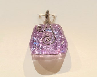 Lavender Dichroic Glass Pendant with Sterling Silver Wire Wrap - Cyberlily