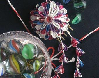 Chrysanthemum and Wisteria Fascinator / Tsumami Kazashi / Geisha Inspired Textile Jewellery/ Fabric Origami / Upcycled fabric