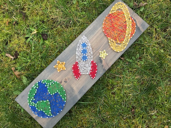 Made to order outer space string art earth rocketship and for What is outer space made of