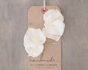 Ivory White Hydrangea Hair Flowers Wedding Hair Accessories