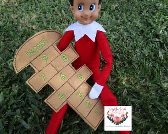 Elf Hopscotch  (5x7) machine embroidery Instant digital download