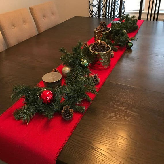 Red Burlap Table Runner Christmas Table Runner Rustic