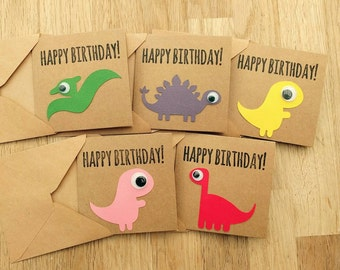Pack of 5 dinosaur happy birthday cards - brown or white - perfect for children's birthdays