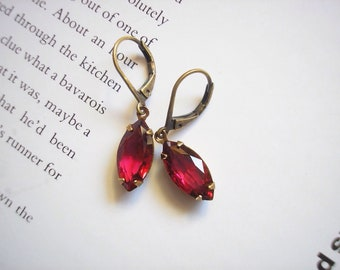 Vintage Ruby Red Navette Crystal Earrings Neo Victorian Parisian Chic Dainty Crimson Red July birthstone